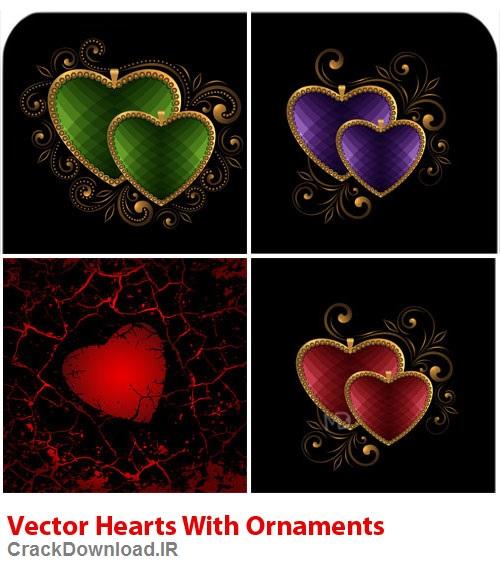 دانلود وکتور قلب با زیور آلات Vectors Hearts With Ornaments